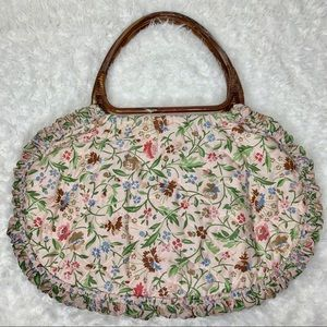 VINTAGE Crochet / Sewing Purse Holder Floral